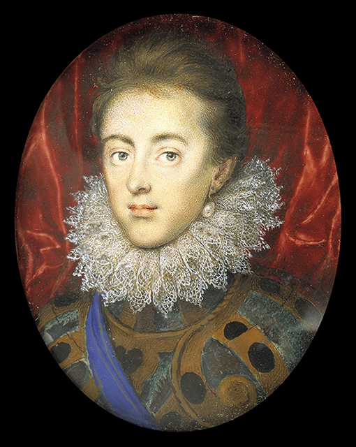 Isaac Oliver miniature, done in 1615, portrait of Charles, Prince of Wales (later Charles I). Image courtesy of the  Berger Collection, Denver, Colorado.