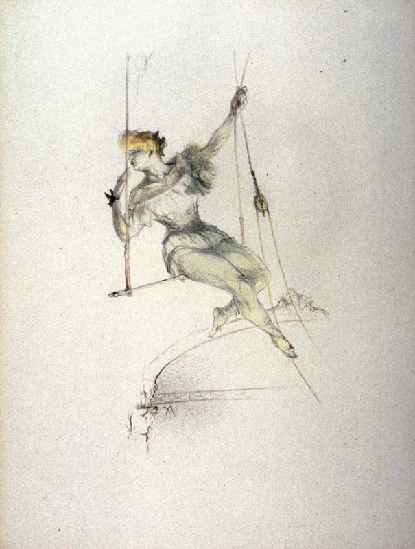 Trapeze Artists, pl 20 from portfolio Le Cirque, Pablo Roig Cisa, 1911, colour lithograph (Image courtesy of Fine Arts Museum of San Francisco)