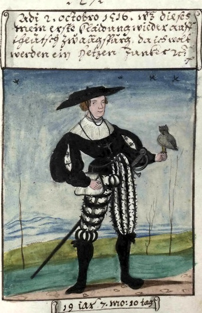Matthaus, aged 19, A typical page from the Trachtenbuch.