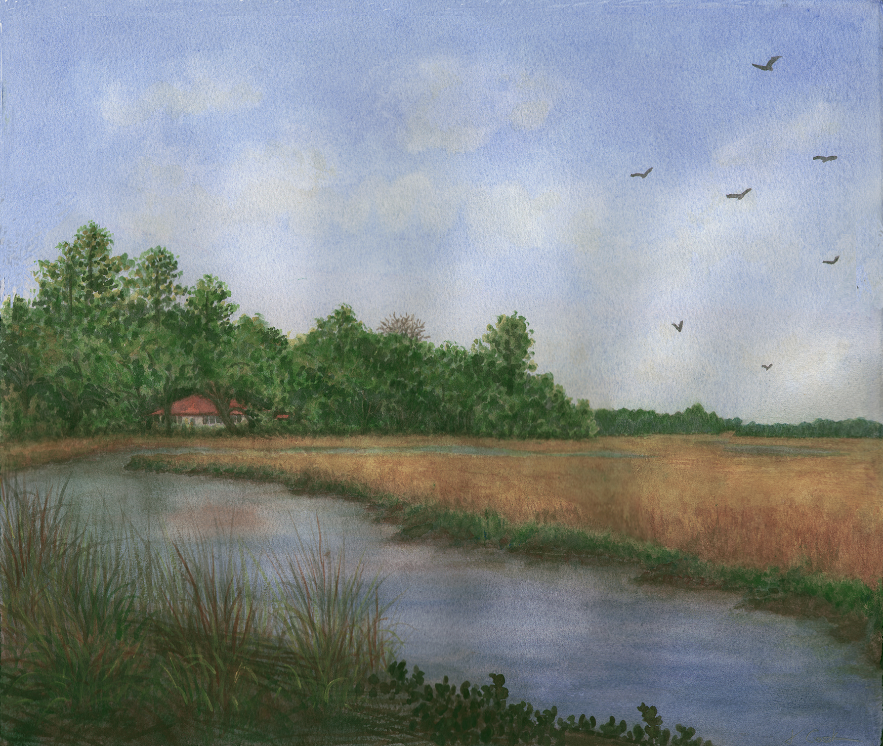 The Bend in the Creek, watercolour, Jeannine Cook artist