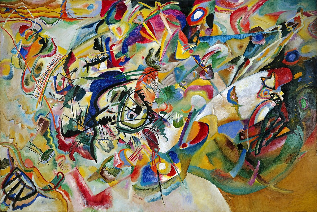 Kandinsky's wonderful paintings in the Composition series he did periodically;  Composition VII  of 1913, (image courtesy of the Museum of Modern Art.)