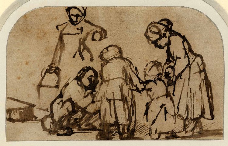 A child being taught to walk; two girls, seen from behind, supporting the child on either side, a figure seated on the ground at left encouraging the child, a woman standing behind with a pail. c.1656, Pen and brown ink on brownish-cream paper., Rembrandt (Image courtesy of the British Museum)