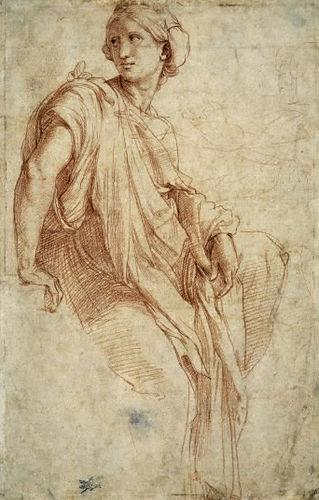 Raffaello Sanzio (b. 1483, Urbino - d. 1520, Rome) The Phrygian Sibyl (1511-1512) Drawing, Department of Prints and Drawings, (Image courtesy of the British Museum)