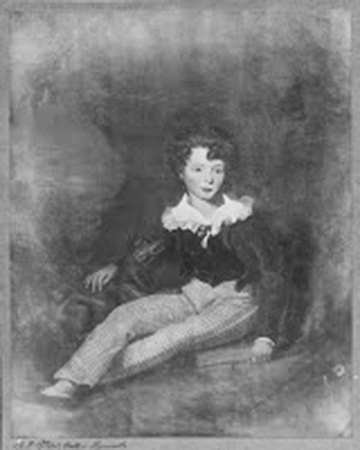 William Carmalt Clifton, aged 13 years, from painting by Jacob Thompson 1832 (HENRIETTA.RADCLIFFE/1955/ AFTER JACOB THOMPSON 1832)