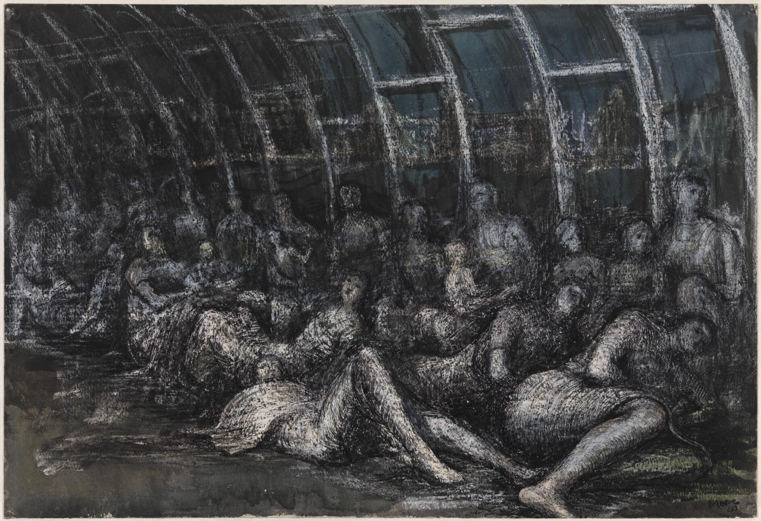 Shelterers in the Tube 1941, Graphite, ink, watercolour and crayon on paper, Henry Moore, (Image courtesy of the Tate)