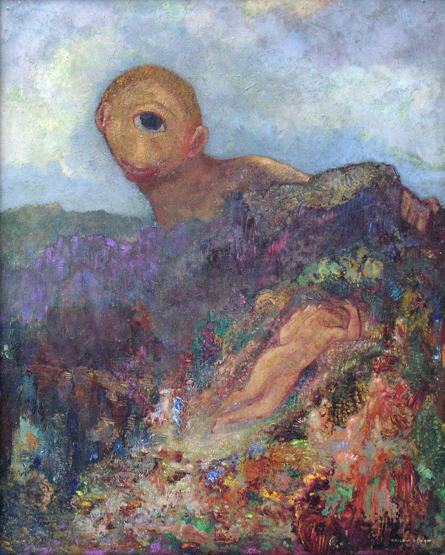 The  Cyclops , 1914 by  Odilon Redon . Symbolism. mythological painting. Kröller-Müller Museum, Otterlo, Netherlands.