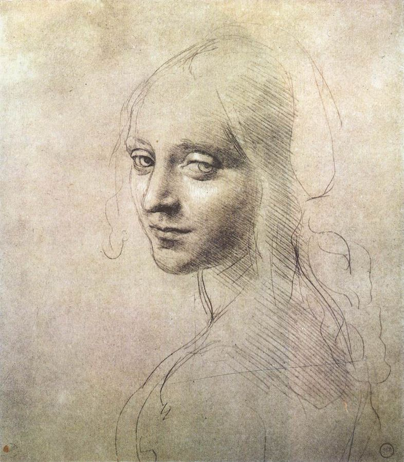 Head of a girl  , Loenardo da Vinci, c.1483, Silverpoint On Paper, (Image courtesy of Biblioteca Reale, Turin, Italy)