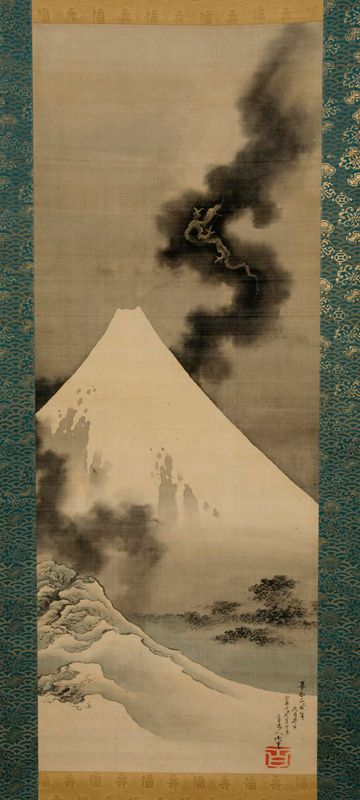 Hokusai. Dragon Flying over Mount Fuji. (Hokusaikan), painting on silk