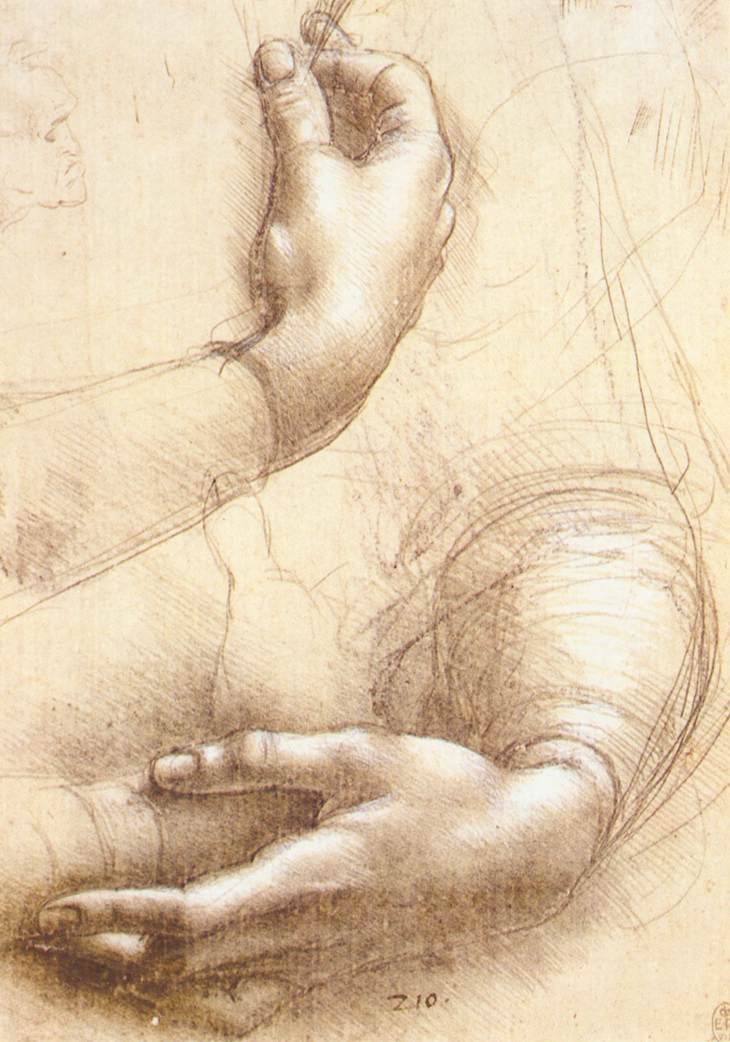 Study of Female Arms and Hands, Leonardo da Vinci (Image Courtesy of Royal Library, Windsor)