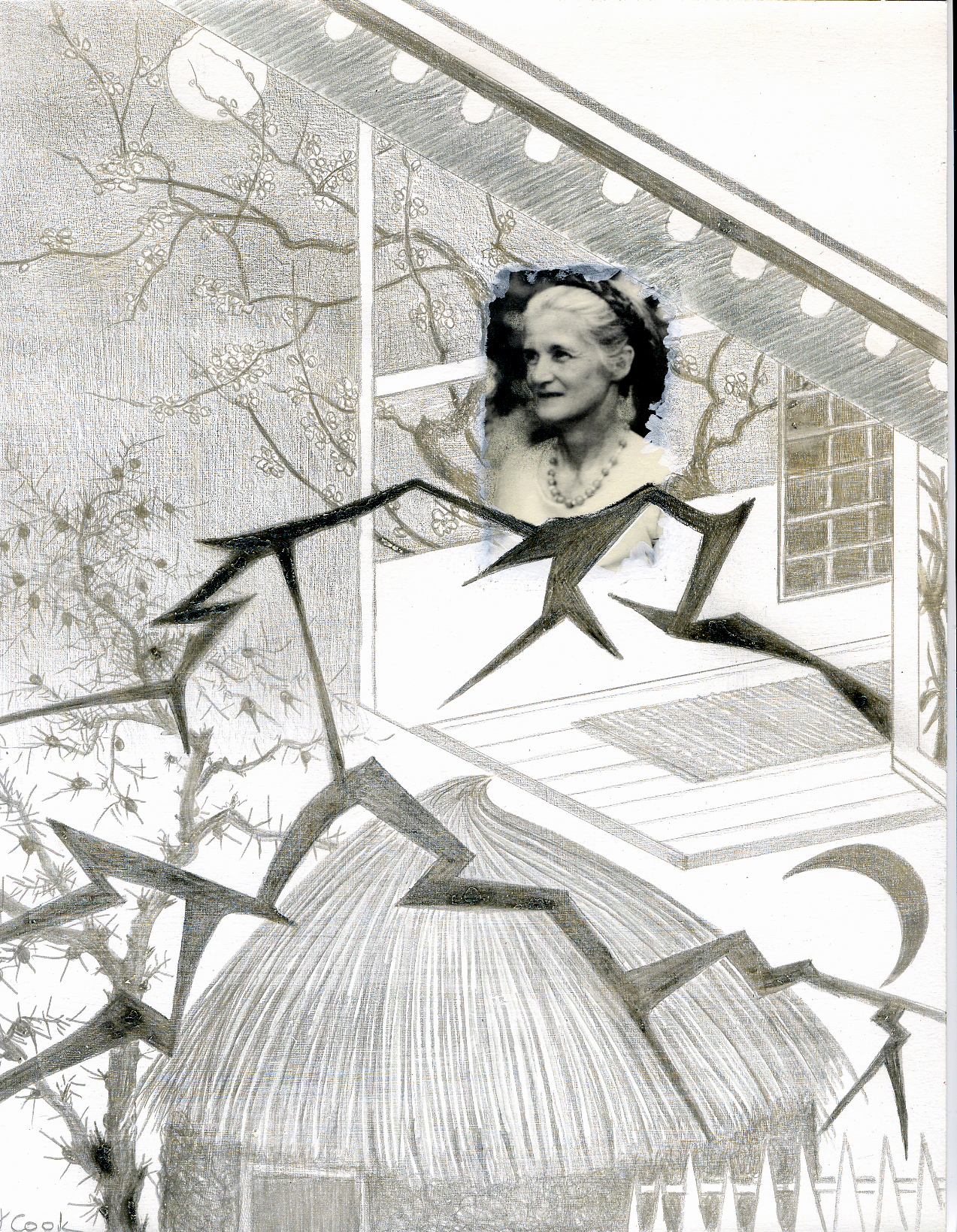 Klotho Series 3 - Ethel Patricia Wright (my mother) - Yokohama earthquake to Africa, silverpoint, Jeannine Cook artist