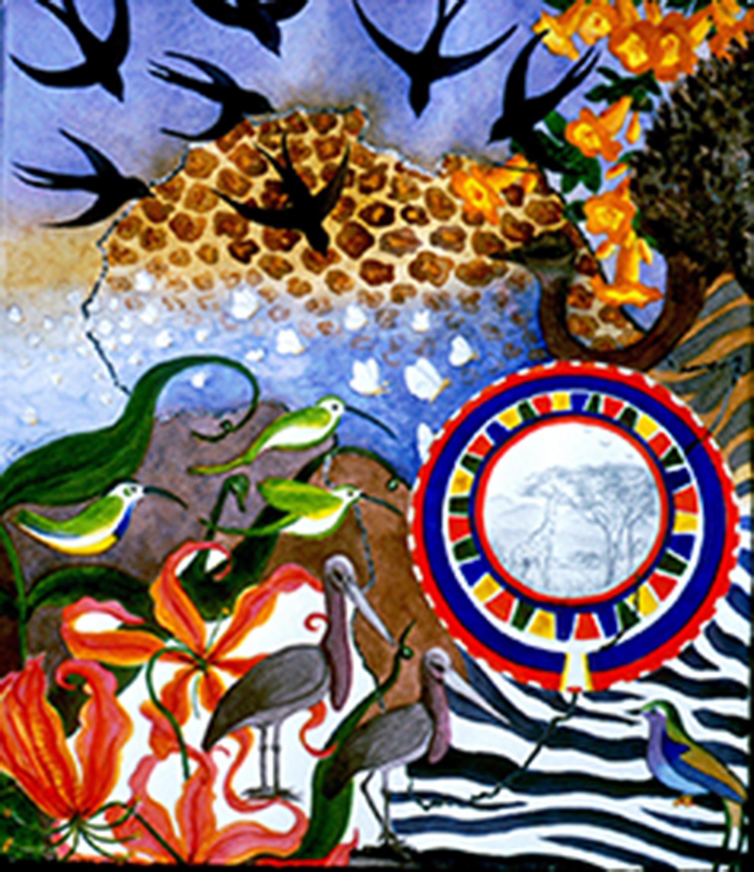African Memories II - silverpoint-watercolour-foil, Jeannine Cook artist
