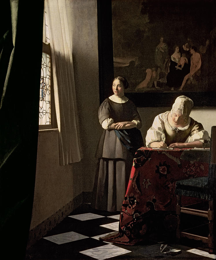 Lady writing a letter with her Maid, c.1670, (oil on canvas) by Jan Vermeer,(Image courtesy of the National Gallery of Ireland )