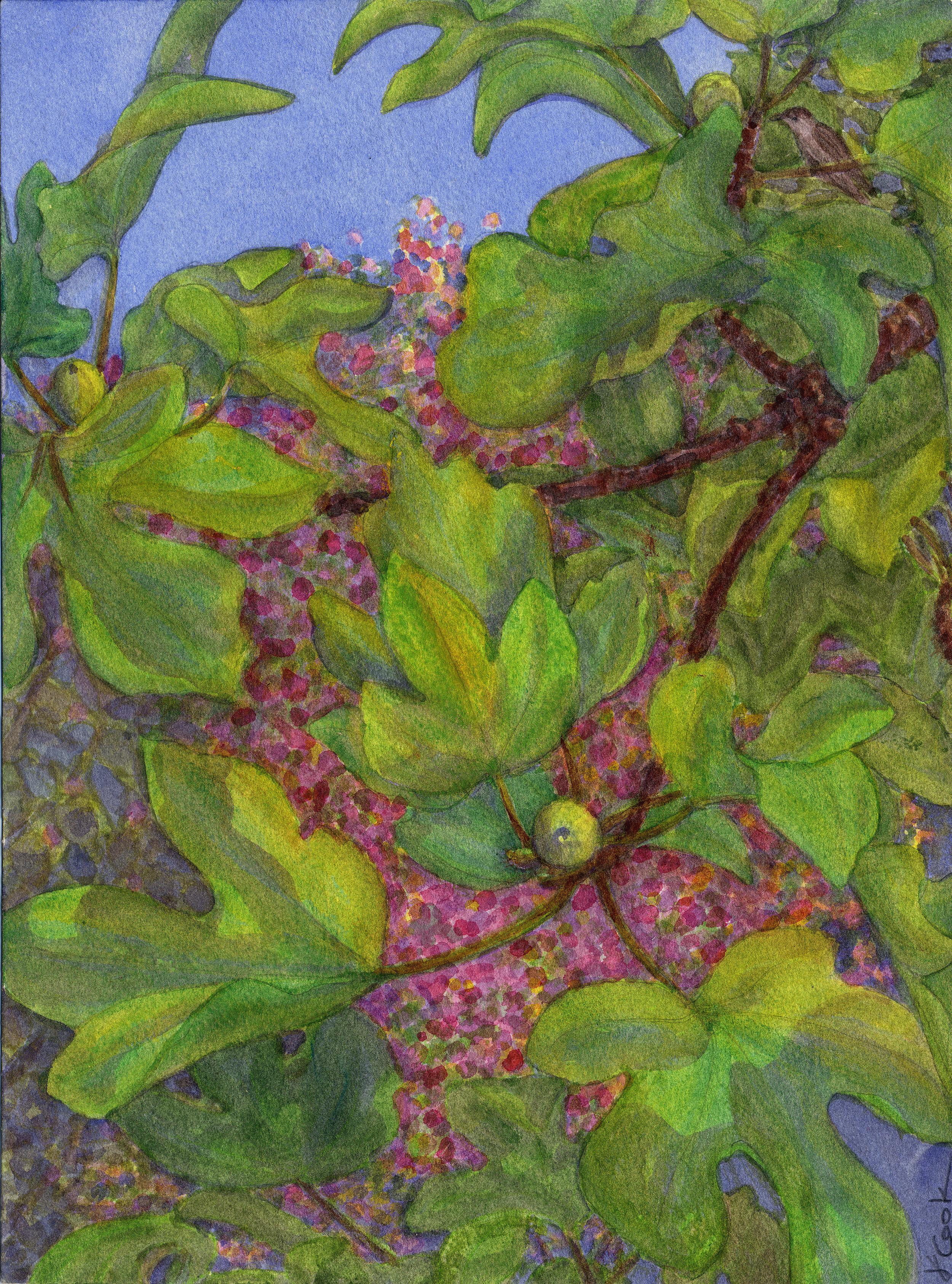 From my New Studio Window,  watercolour, Jeannine Cook artist