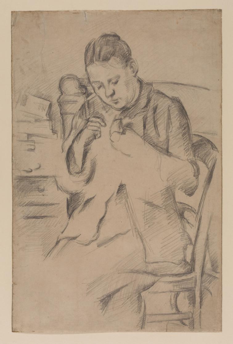 Paul Cézanne (1839–1906) , Hortense Fiquet (Madame Cézanne) Sewing,  ,c. 1880, Graphite Samuel Courtauld Trust: Princes Gate Bequest, 1978