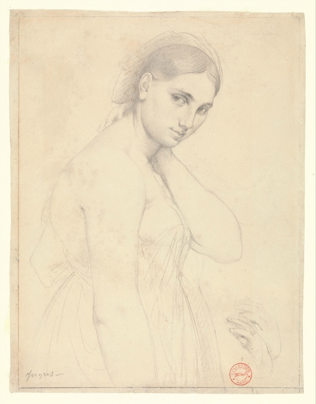 """Jean Auguste Dominique Ingres (French, 1780-1867). Study for """"Raphael and the Fornarina  """" (detail), ca. 1814. Graphite on white wove paper, 10 x 7 3/4 in. (25.4 x 19.7 cm). The Metropolitan Museum of Art, New York, Robert Lehman Collection, 1975"""