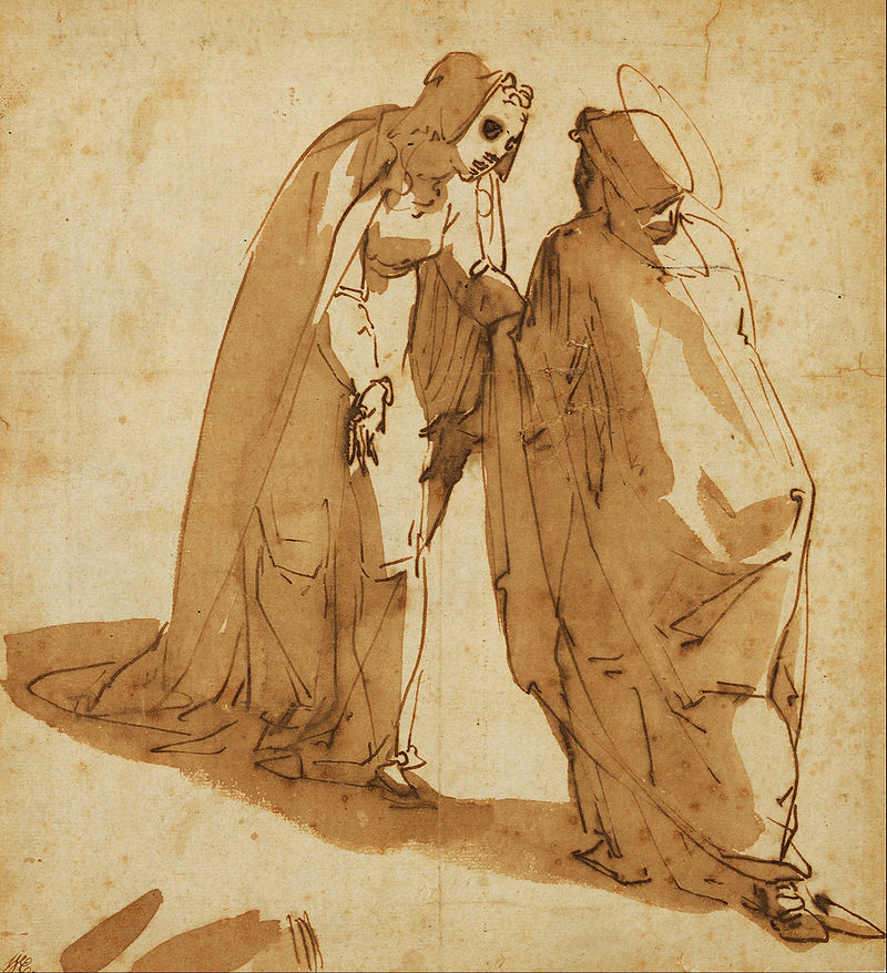 The Visitation, c. 1580,    pen & brown ink brown wash on paper, Luca Cambiaso (Image courtesy of the Art Gallery of South Australia)