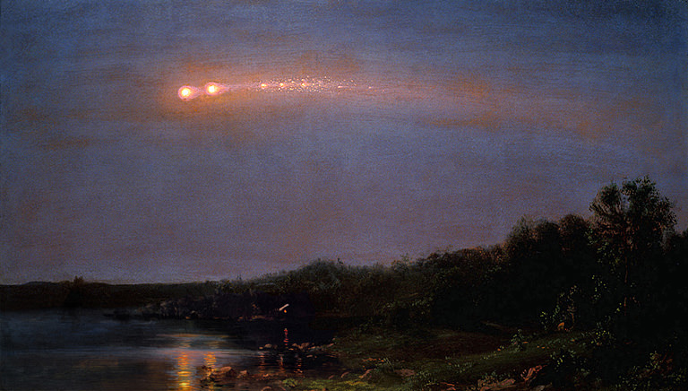 Painting of The Meteor of 1860 by Hudson River School artist Frederic Church. (Credit: Frederic Church courtesy of Judith Filenbaum Hernstadt).
