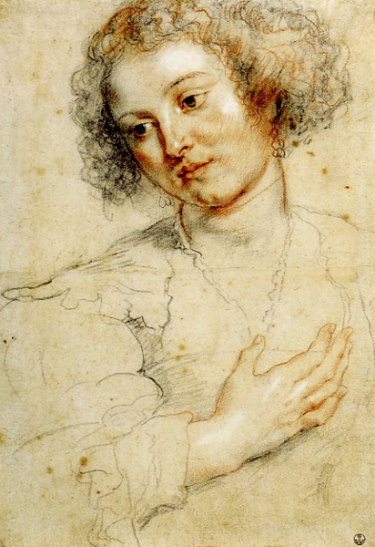 Young Woman Looking Down (Study for the Head of St. Apollonia)   by Peter Paul Rubens , 1628, black and red chalk heightened with white, retouched with pen and brown ink, 16 5/16 x 11 1/4. Collection Uffizi Gallery, Florence, Italy.