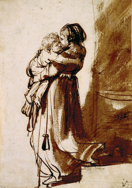 Woman Carrying a Child Down Stairs by Rembrandt , ca. 1636, pen and brown ink with brown wash, 7 3/8 x 5 3/16. Collection Morgan Library, New York, New York. ""
