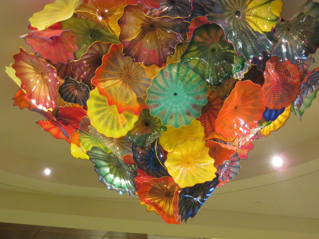 Dale Chihuly's chandelier in the hospital foyer at the Mayo Clinic, Jacksonville, FL