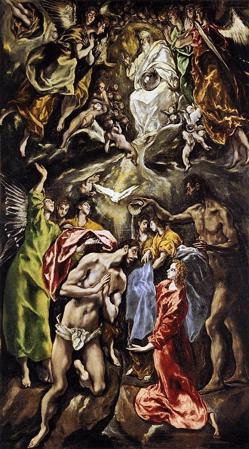 The Baptism of Christ, c. 1614, El Greco, (Image courtesy of Museo  Fundacion Lerma, Hospital de Tavera, Toledo)