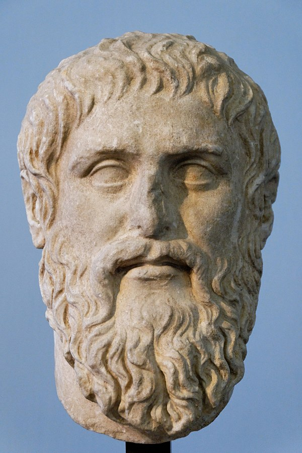 Plato. Luni marble, copy of the portrait made by Silanion ca. 370 BC for the Academia in Athens. From the sacred area in Largo Argentina.  (Image courtesy of the Capitoine Museums)