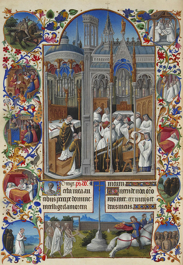 Très Riches Heures du duc de Berry   . Folio 86,  verso :   The Funeral of Raymond Diocrès, between 1411 and 1416 and between 1485 and 1486