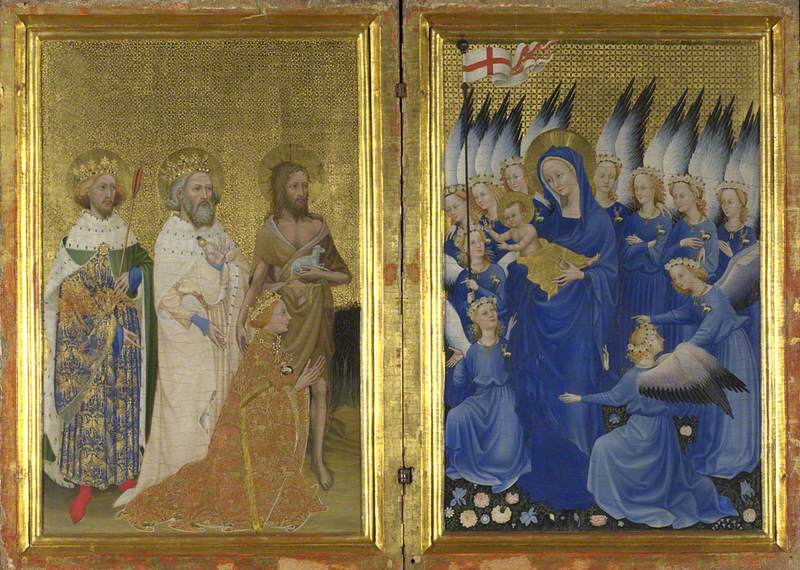 Richard II presented to the Virgin and Child by his Patron Saint John the Baptist and Saints Edward and Edmund ('The Wilton Diptych'), Anonymous, ca. 1395, egg on oak, 53 x 37 cm, National Gallery