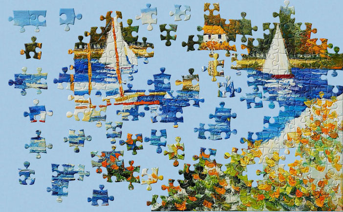 A jigsaw puzzle of a painting by Claude Monet