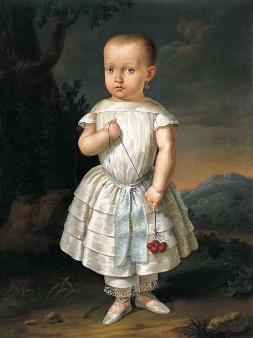 Joan Mestre i Bosch  (Escuela mallorquina),  Retrato de una niña con cerezas , c. 1843, oil on canvas, Fundación Yannick y Ben Jakober, Mallorca