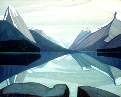 Lawren Harris: Maligne Lake, Jasper Park, Oil on canvas. (Collection of the National Gallery of Canada).
