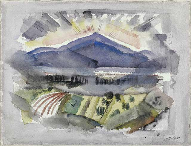 Franconia Range, White Mountains, No. 1, 1927, watercolor, graphite pencil, black chalk, John Marin (Image courtesy of the Phillipes Collection)