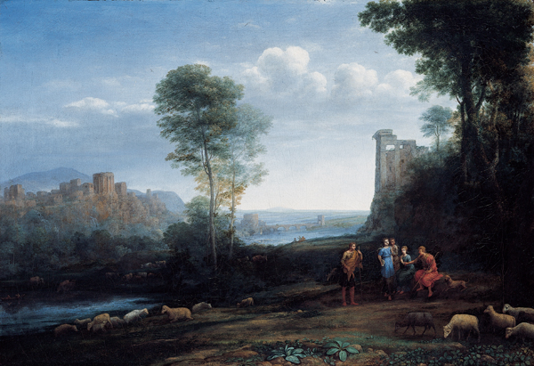 Pastoral Landscape, oil on canvas, 1677, Claude Lorrain (Image courtesy of Kimball Art Museum)