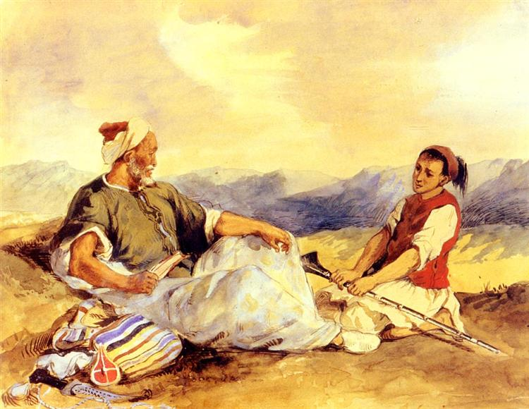 Two Moroccans Seated In The Countryside , watercolour,  Eugene Delacroix, Private collection