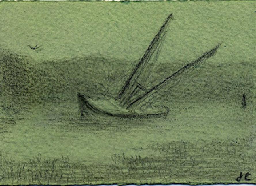 Aground, graphite on tinted ground, Jeannine Cook artist