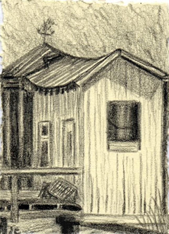 The Old Dockhouse, graphite, Jeannine Cook artist