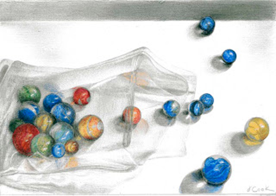 Lost my Marbles! silverpoint, Prismacolor, Jeannine Cook artist