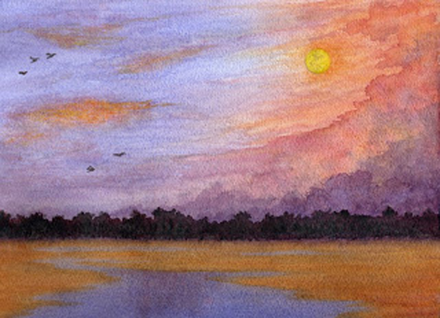 Moon over the Marsh, watercolour, Jeannine Cook artist