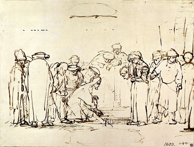 Rembrandt, Jesus and the Adultress