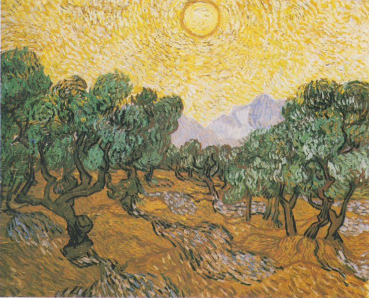 Olive Trees with yellow sky and sun, Saint Remy, November 1889, V. Van Gogh, (Image courtesy of Minneapolis Institute of Art)