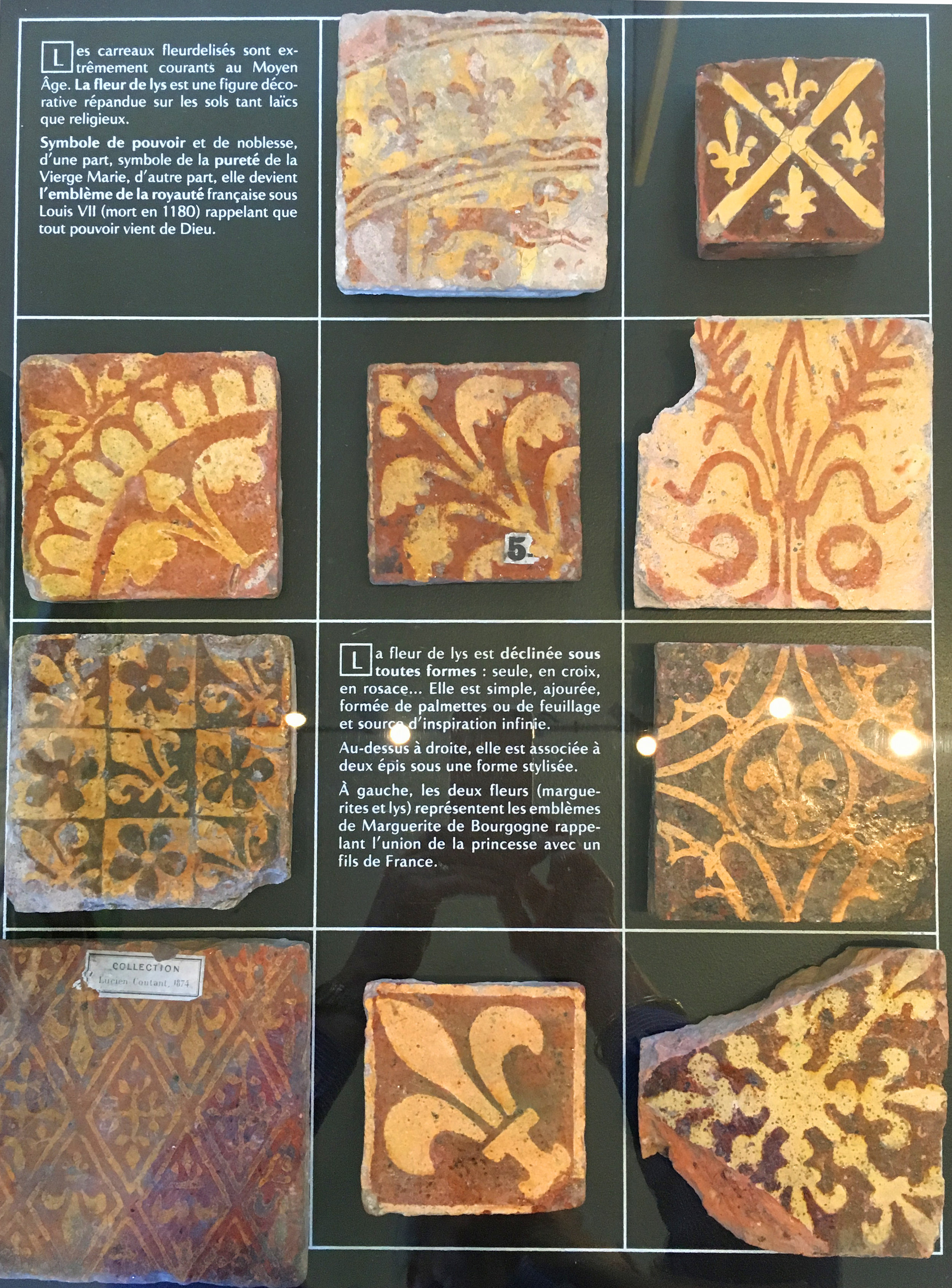 One of the displays of medieval tiles at the Musée Saint Loup, Troyes (photograh J. Cook)