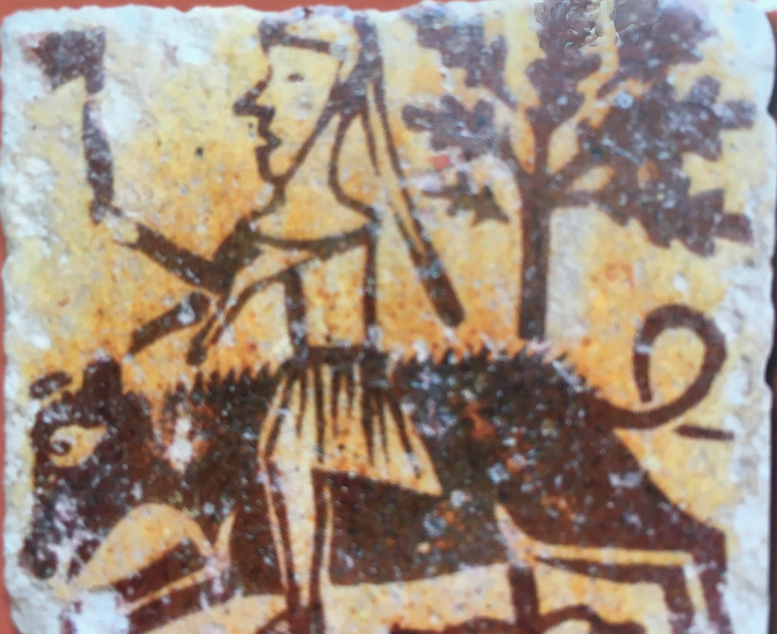 """A medieval tile about hunting in the Musée Saint Loup, Troyes (image in catalogue """"Carreaux de Pavement"""")"""