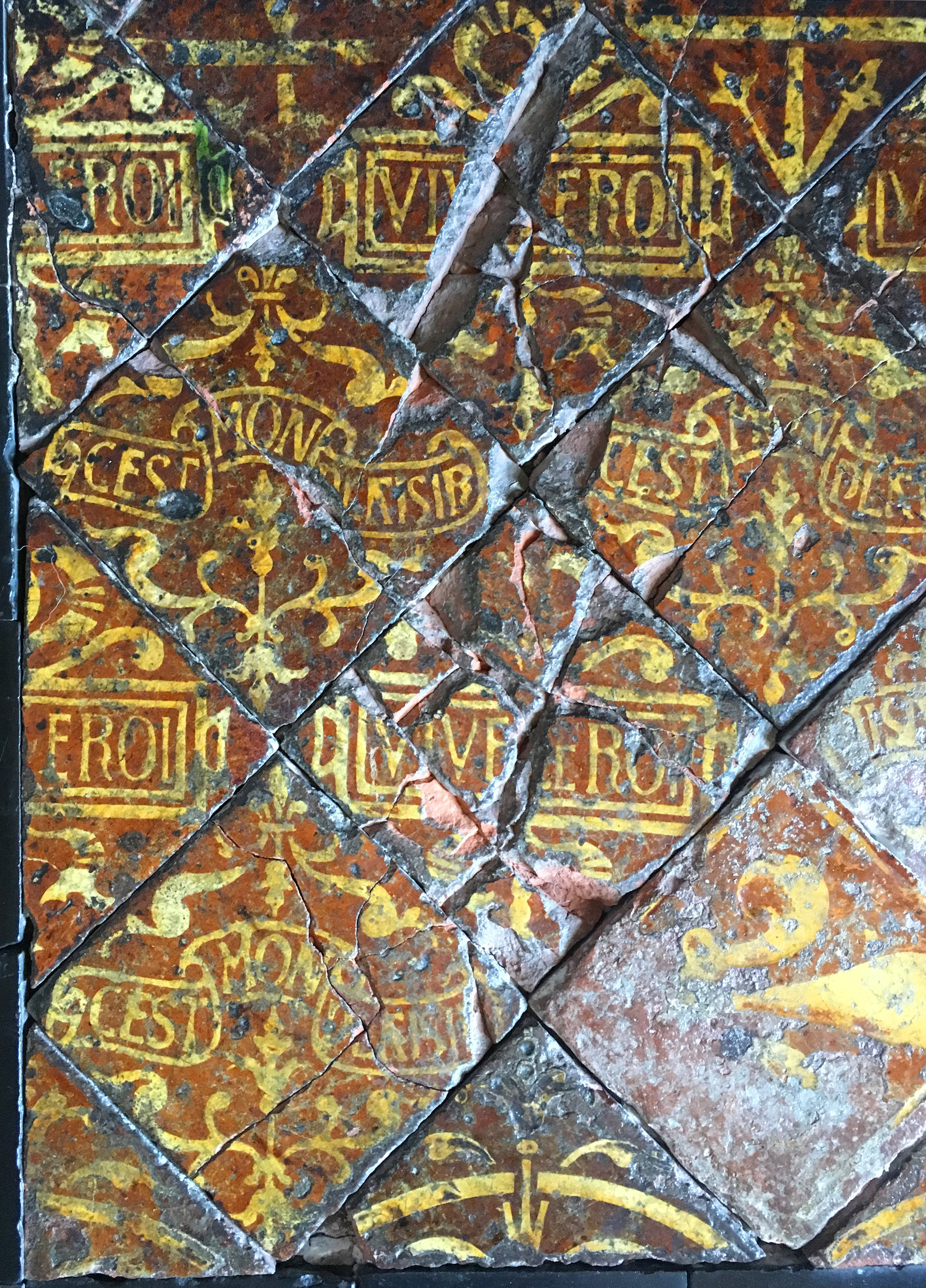 Other early tiles that marry heraldry and mottos, Ancy le Franc Château (photograph J. Cook)
