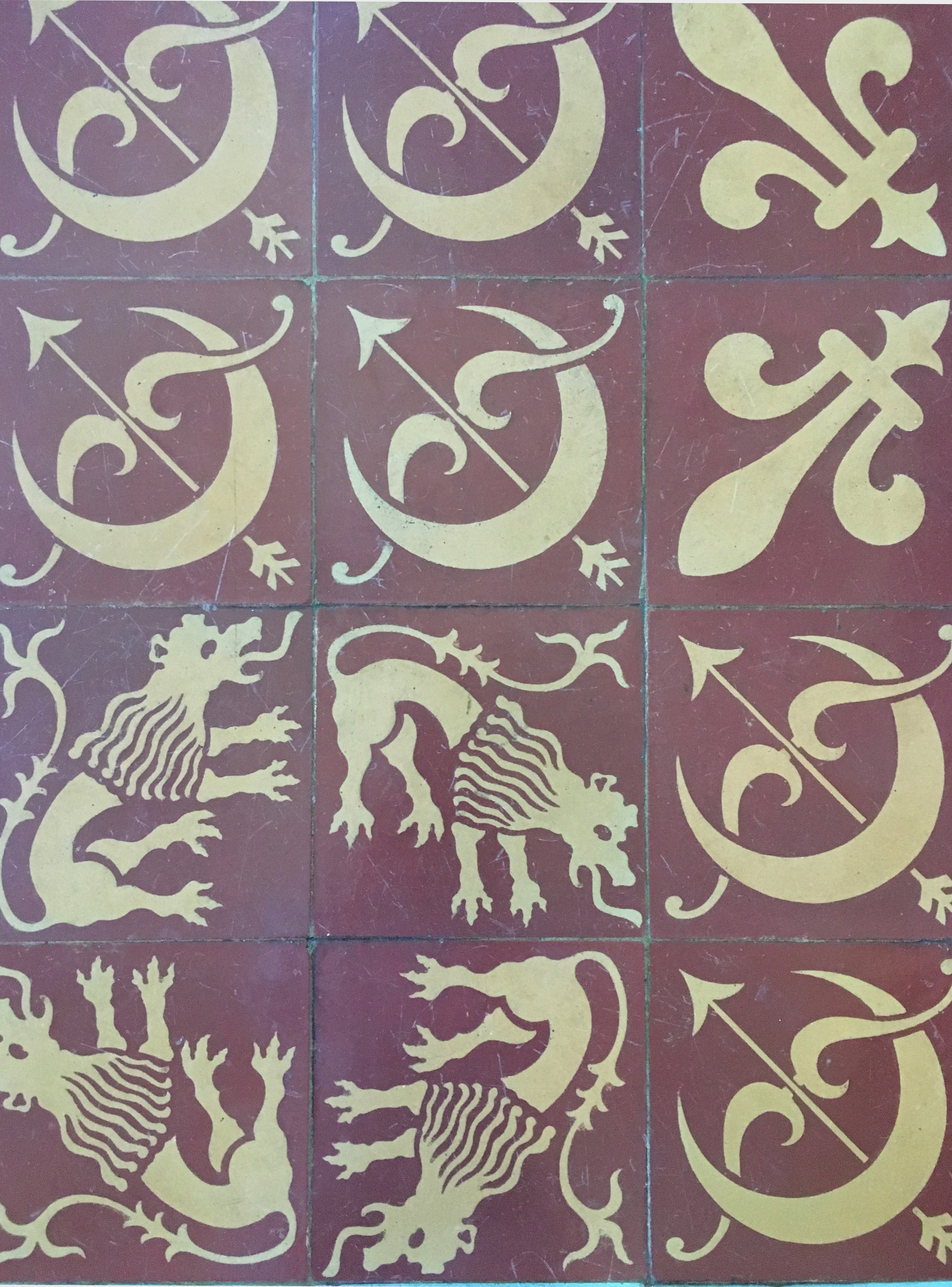 More heraldic tiles in Diane de Poitier's 16th century apartment area in Ancy le Franc Château (photograph J. Cook). (These tiles may be copies)