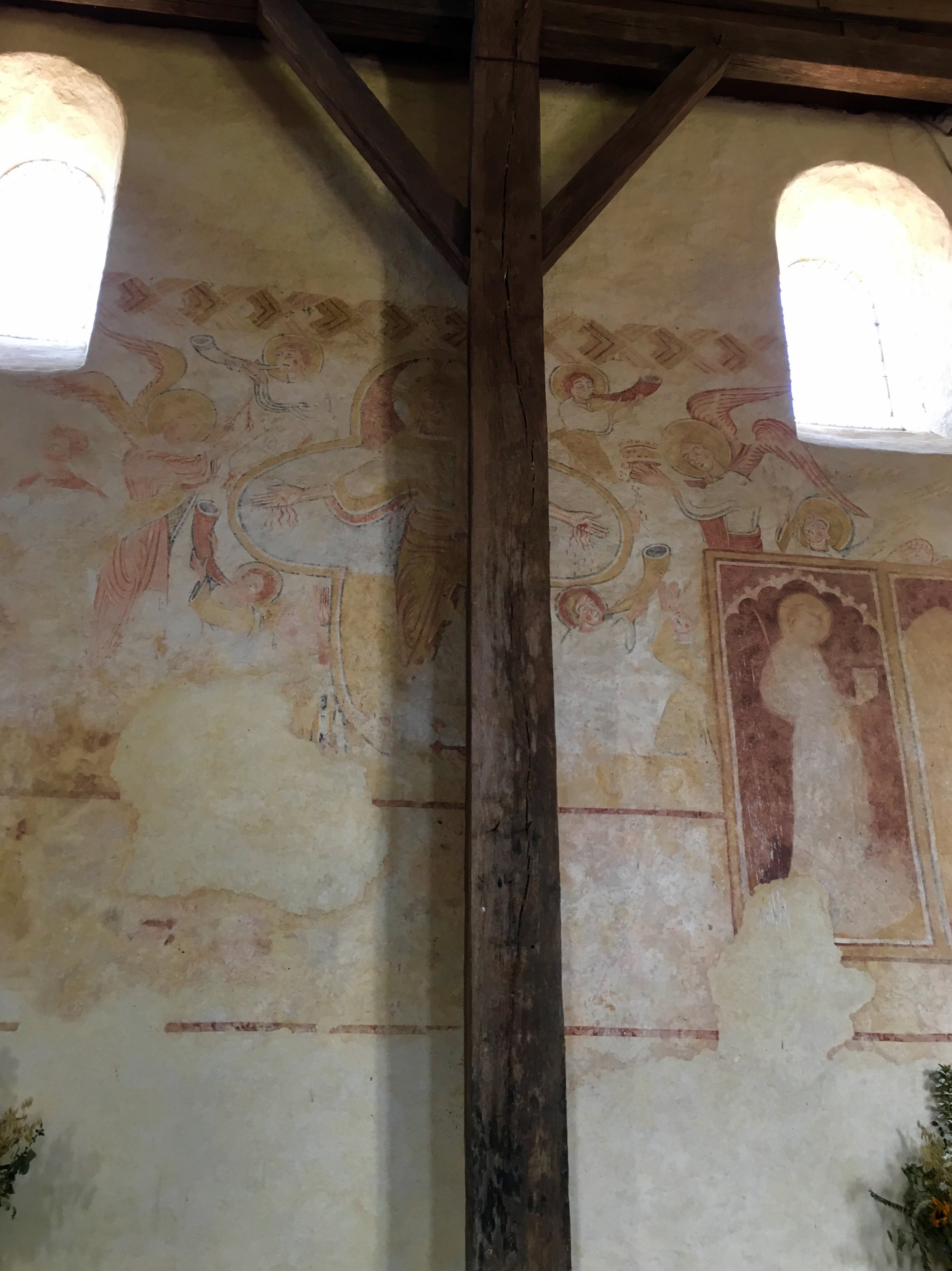12th century frescoes in the  Eglise St. Pierre (photograph J. Cook)