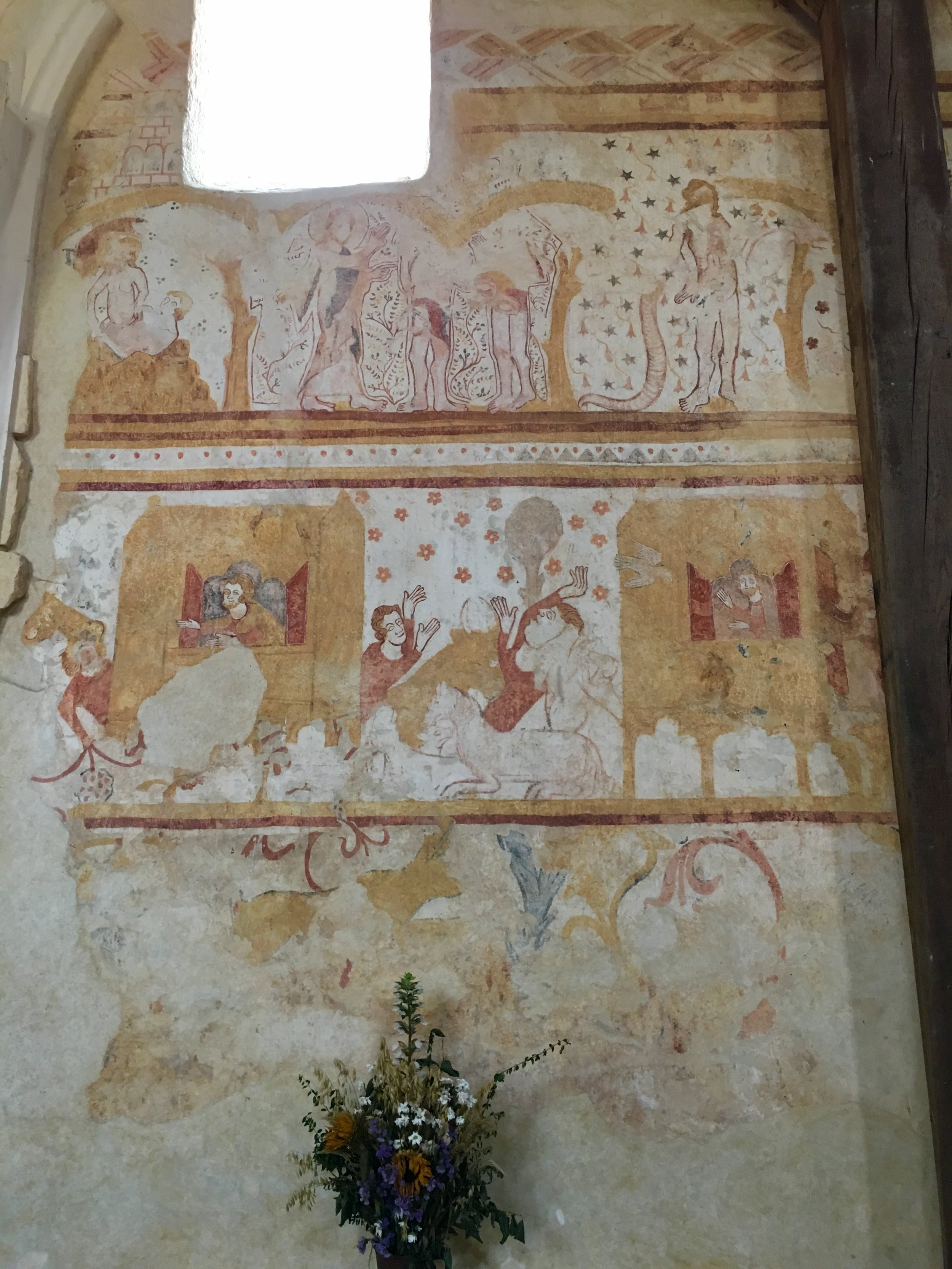 Late 13th century frescoes on the south wall of Eglise St. Pierre, depicting episodes from the Book of Genesis (photograph J. Cook)