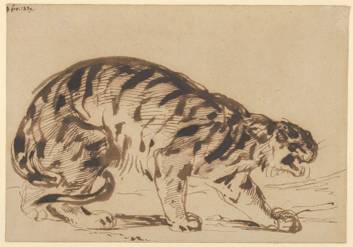 Crouching Tiger  (1839), 1839. pen and brush with brown ink on wove paper, Eugène Delacroix. (Image courtesy of The Metropolitan Museum of Art, New York)
