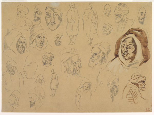 Studies of Arab Heads and Figures, 1810–63, Graphite and wash on wove paper sheet, Eugène Delacroix, (Image courtesy of The Metropolitan Museum of Art, New York)