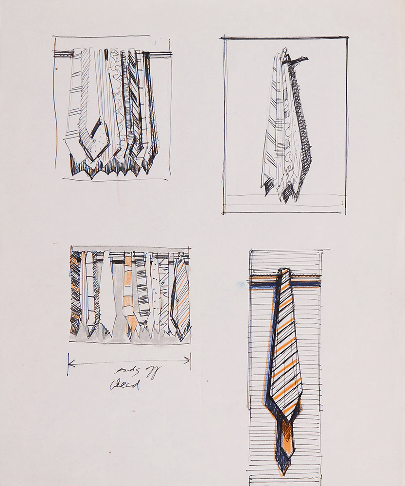Page of Sketches with Ties, 1960s–70s, pen and ink and pastel, From the artist's studio, Wayne Thiebaud/Licensed by VAGA New York NY (Image courtesy of the Morgan Library, New York)