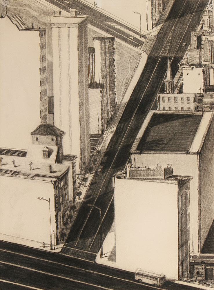 Three Roads , 1983, charcoal. Private collection. © Wayne Thiebaud/Licensed by VAGA, New York, NY (Image courtesy of the Morgan Library, New York)